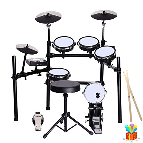 ZHRUNS Electronic Drum Set, Mesh Kit with Collapsible 3-Post Rack, Built-in Drum Coach with Play-Along Tracks, 15 Ready-to-play Portable Electronic Drum Set for Kids and Adults With Stool