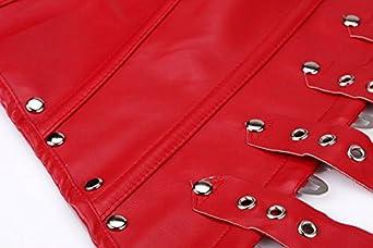 E-SHINE CO Womens Lace up PU Leather Bustier Corset Lingerie