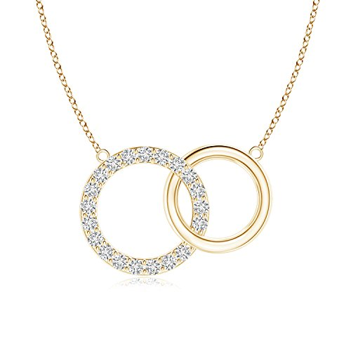 Lab Grown Diamond Intertwined Circle Necklace in 14k Yellow Gold