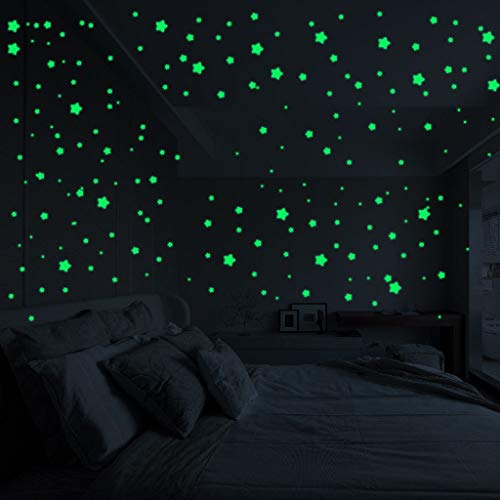 WOCACHI Wall Stickers Decals Moon Stars Color Glow in The Dark Luminous Fluorescent Stickers Decal Art Mural Wallpaper Peel & Stick Removable Room Decoration Nursery Decor