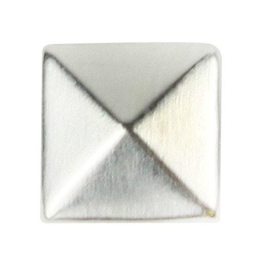 Ottery 7mm Flat Back Silver Pyramid Studs - 1/4