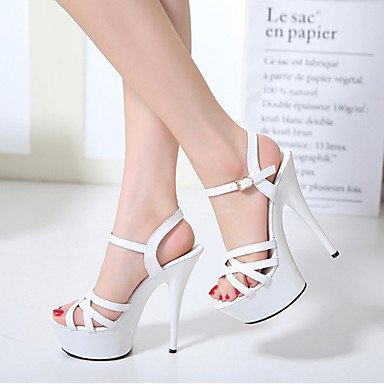 LvYuan Mujer-Tacón Cuña Tacón Stiletto-Innovador Gladiador Zapatos del club Confort-Sandalias-Boda Exterior Oficina y Trabajo Vestido Informal White