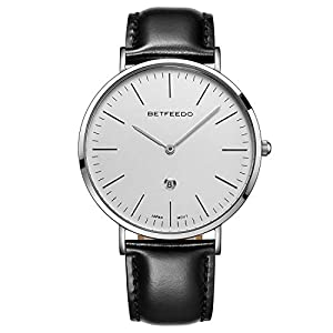 Betfeedo Dress Watches for Men Ultra-Thin Quartz Analog Watch with Genuine Leather Strap & Date Window