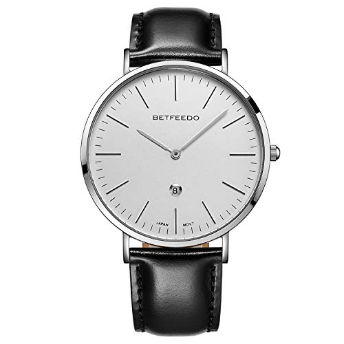 Betfeedo Ultra-Thin Quartz Analog Stainless Steel Case Dress Watches for Men with Genuine Leather Strap & Date Window