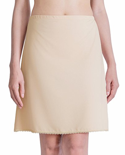 Nylon Slip Skirt (ANNY Women's Everyday Lace Trim Beige Half Slip 19 Inch)