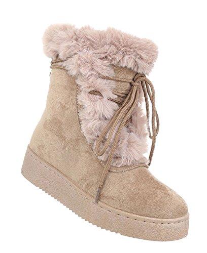 Damen Schuhe Stiefeletten Gefütterte Boots Beige