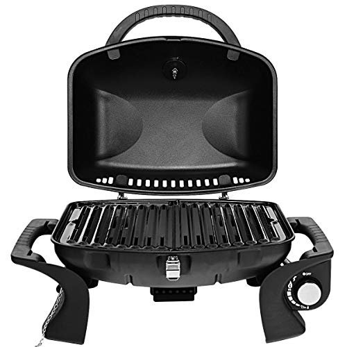 Cypress Shop Portable Tabletop BBQ Smoker Grill Propane Gas Barbecue Griddle Stove Stainless Steel Burner Cooker with Nonstick Plates Picnic Camping ATV RV Trips Backpacking Patio Lawn Yard Party