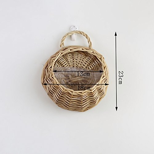 Aneil Wicker Rattan Artificial Flower Basket Wall Mounted Fake Plant Pot Planter Hanging Vase Container ()