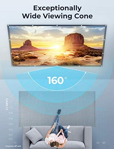 VANKYO STAY TRUE PROJECTOR SCREEN, 120 INCH PROJECTION SCREEN 4K HD, 16:9, FOLDABLE WRINKLE-FREE MOVIES SCREEN(1.1 GAIN, 160°VIEWING CONE) FOR VANKYO LEISURE 3 PROJECTOR, SUPPORT FRONT REAR PROJECTION