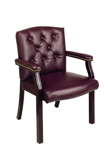 Office Star Padded Vinyl Traditional Visitors Chair with Padded Arms and Nailhead Accents, Jamestown - Office Star Traditional Visitors Chair