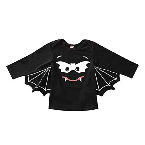 Top Baby Girl Halloween Costumes (Baby Bat Halloween Costume Romper Jumpsuit Long Sleeve Toddler Boy Girl Cotton Shirt Top Clothes Outfits Black)