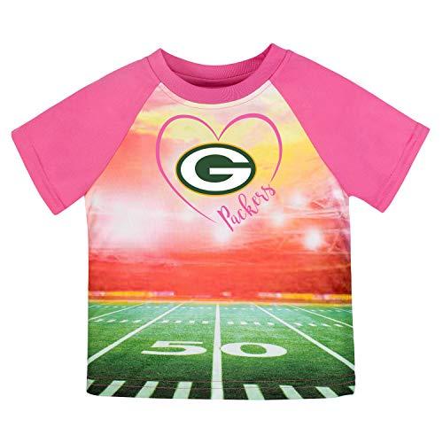 NFL Green Bay Packers Girls Short-Sleeve Tee, Pink, 2T (Packers Shirt Girls)