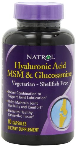 El ácido hialurónico vegetariana Natrol MSM y la glucosamina, 90 capsulas (Pack de 2)