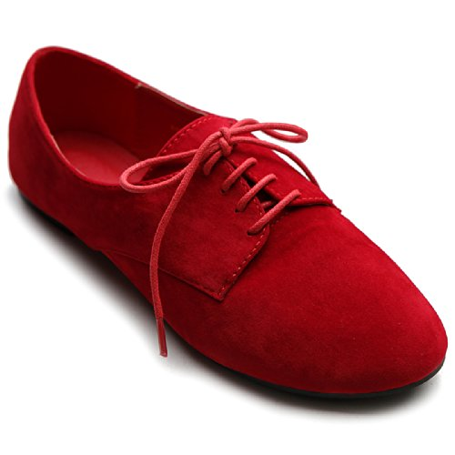 Ollio Women's Ballet Flat Shoe Faux Suede Lace up Oxford ZM1984(6.5 B(M) US, Red) by Ollio