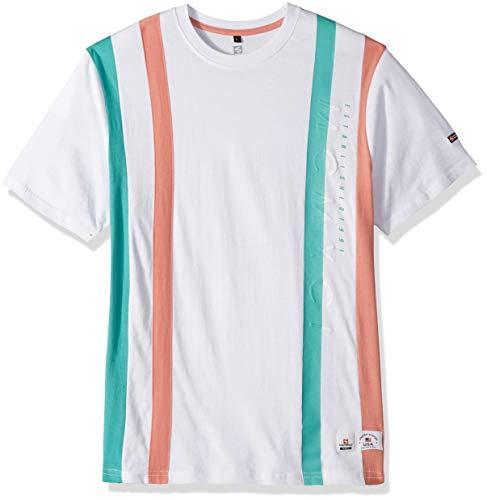 Southpole Men's Stripe Short Sleeve Fashion Tee, White Vertical, Medium ()