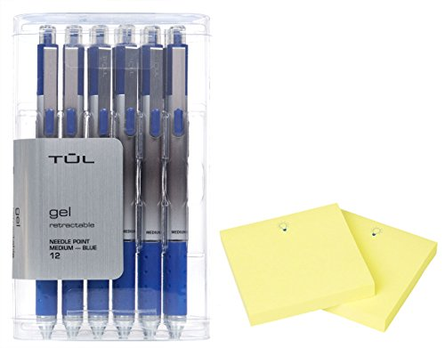 Blue Needlepoint (TUL GL1 Gel Pen Retractable Needle Point Medium 0.7mm, Blue 12/pk +