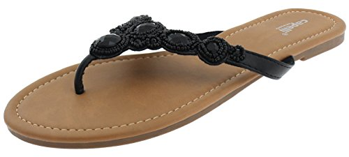 Capelli New York Ladies Fashion Flip Flops With Seed Beads and Gem Trim Jet Black windy