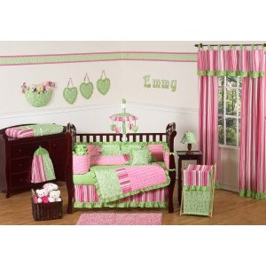 Sweet Jojo Designs 2-Piece Pink and Green Olivia Stripe Window Treatment Panels (And Green Curtains Pink)