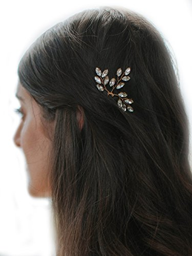 Missgrace 2pcs Bridal Rhinestone Lead Wedding Hair Accessories-Women Hair Accessory for Wedding and Party (Gold)