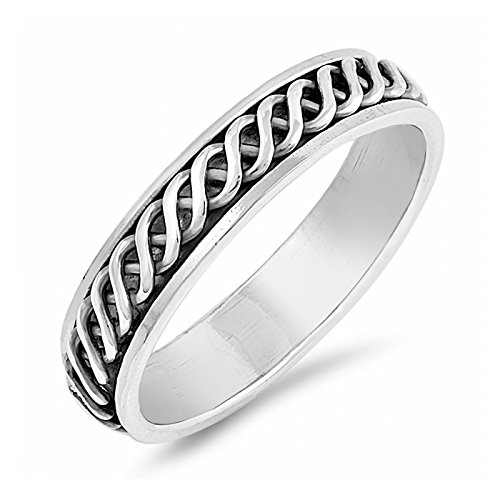 Mens Spinner Ring 5mm Sine Waves .925 Sterling Silver Wedding Band Unique Gift Size 9 -