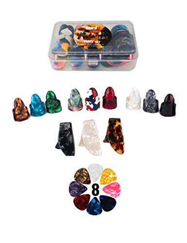 Thumb and Finger Picks Plectrum With Plastic Picks Case, 1 Dozen (3 Pairs) Celluloid Guitar picks Mandolin picks Banjo picks or Acoustic Guitar picks and Free 8pcs 0.46mm Guitar Picks (Mix Color)