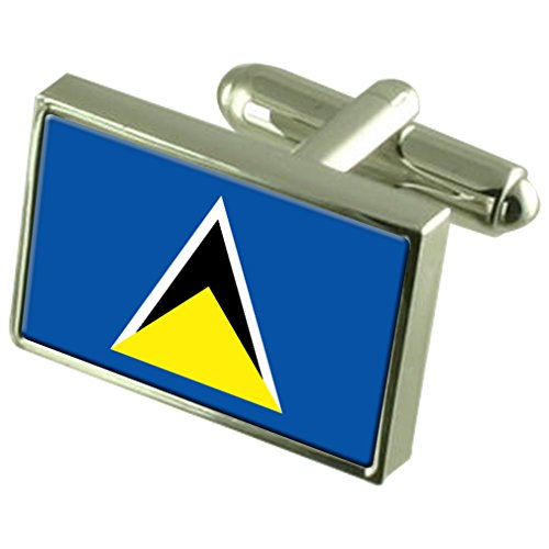 Saint Lucia Sterling Silver Flag Cufflinks by Select Gifts