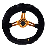 Universal Soft Warm Steering Wheel Cover Fluffy Faux Fur Steering Wheel Protection Covers Wrap for Winter (Black)
