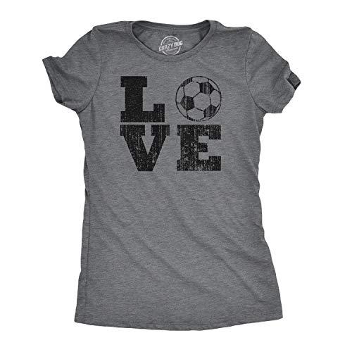 Womens Love Soccer Tshirt Cute Sports Tee for Ladies (Dark Heather Grey) - XL ()