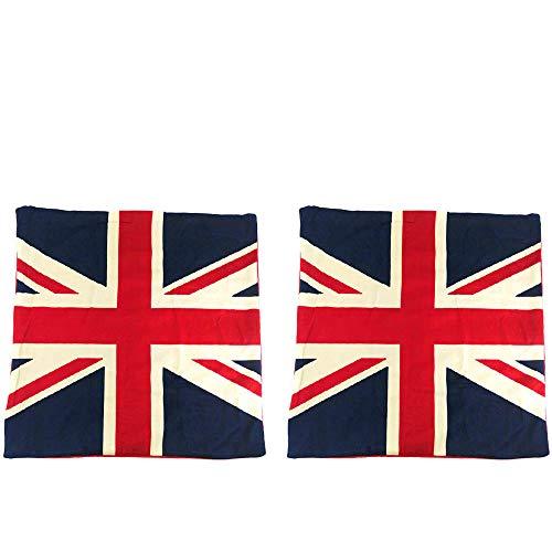 (Newweic UK Flag Pillow Cover, Soft British Pillow Case Velvet Throw Pillow Cases 16x16 Set of)