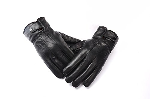 Anccion Men's Genuine Leather Warm Lined Driving Gloves, - Motorcycle Travel Gloves