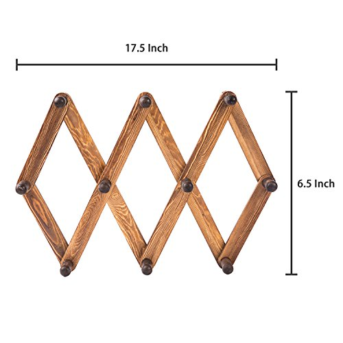 MyGift 10 Hook Torched Wood Wall Mounted Expandable Accordion Peg Coat Rack Hanger by MyGift (Image #6)