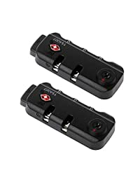 2 Pack TSA007 Security Lock Padlock Luggage Travel Lock and 3 Digits Self-Setting A Variety of Different Combinations Luggage Bag Travel Security Code Lock, Black