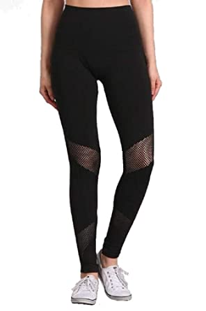 fba7a45d636e0d Amazon.com: M. Rena Mesh Panel Tummy Tuck Leggings (Black): Clothing