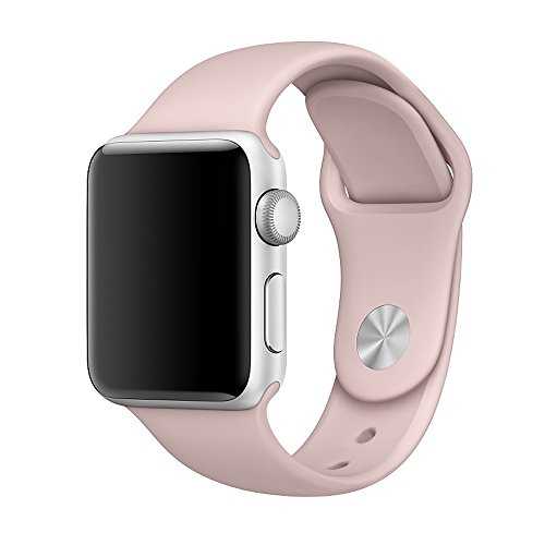 Apple Watch Band, Weaoren Soft Silicone Replacement with Stainless Steel Pin Sport Band for 38mm Apple iWatch S/M ( Pink Sand )
