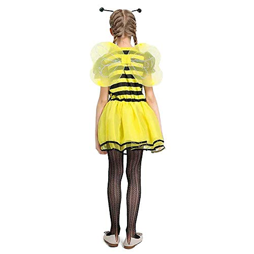 Big Girls Bee Costume Kids Children Fairy Fancy Dress Black Yellow Stripe Dress Tween Halloween Carnival Party Costume (Yellow, L(10)/8-9 Years) -