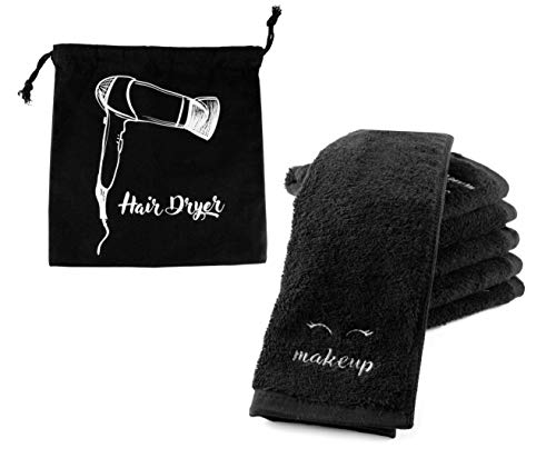 (Black Makeup Washcloths (6-Pack); Make-up Remover Face Towels + Bonus Hairdryer Bag (7-Piece Set))