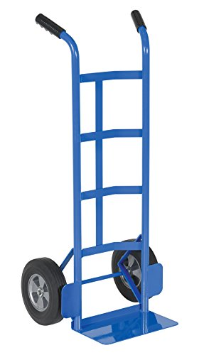 "Vestil DHHT-500S-HR Steel Hand Truck with Dual Handle,Hard Rubber Wheels, 500 lbs Load Capacity, 44-1/2"" Height, 21"" Width X 17-1/2"" Depth"