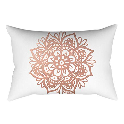 Pausseo Rose Gold Powder Pillowcase, Cotton Linen Square Pillow Cover Cushion Sofa Waist Throw Pillowcase Home Decoration Office Car Bed Decor Wrinkle Resistant Pillowslip Gift Set
