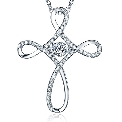 Celtic Cross Necklace for Women-YL Dancing Diamond Sterling Silver Cubic Zirconia CZ Eternal Celtic Knot Crucifix Pendant (Sterling Silver Celtic Crucifix)