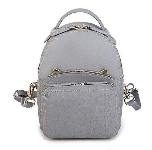 Mujer de cuero genuino mochila Moda Crocodile patrón de mochila de hombro Hardware Cinco colores decorativos disponibles Gray