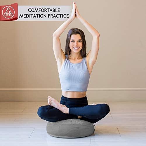 Florensi Cojín de meditación (40,6 x 40,6 x 12,7 cm), almohada de meditación de terciopelo grande, almohada de yoga premium para mujeres y hombres, cojín de yoga, almohadas de meditación para sentarse en el piso, cojines de meditación de trigo sarraceno 8
