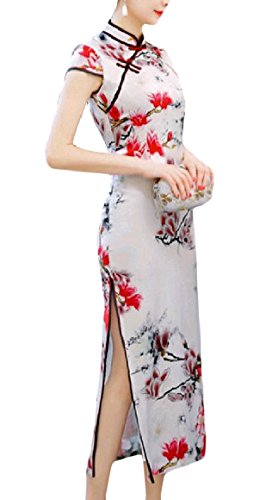 SportsX Women's Stand Collar Maxi Split Silk Floral Printed Short-Sleeve Chinese Evening Dress Cheongsam Pattern3 M ()