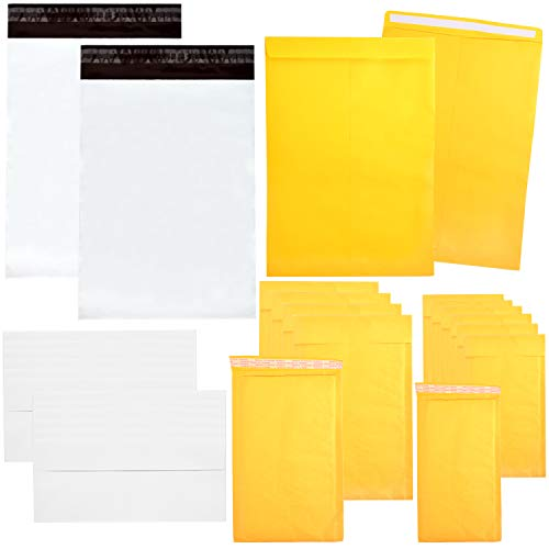 Assorted Bubble - Youngever 125 Pack Assorted Envelope and Mailer Set, Self Seal Envelopes, 9x11.5 Catalog Mailers, 4x8 Bubble Mailers, 6x10 Bubble Mailers, 10x13 Poly Mailers