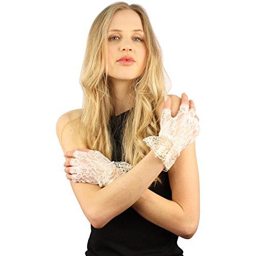 Fancy Floral Half Fingerless Lace Ruffle Cuff Wrist Dressy Formal Gloves Ivory