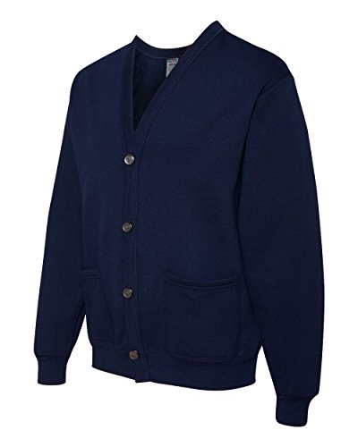 Jerzees mens 8 oz. 50/50 NuBlend Cardigan-J NAVY-L/XL