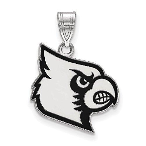 (Beautiful Sterling silver 925 sterling Sterling S. Rh-p LogoArt University of Louisville Large Enamel Pendant)