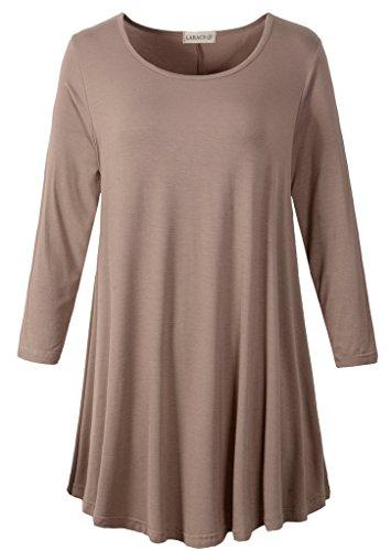 LARACE Women 3/4 Sleeve Tunic Top Loose Fit Flare T-Shirt(M, Khaki)
