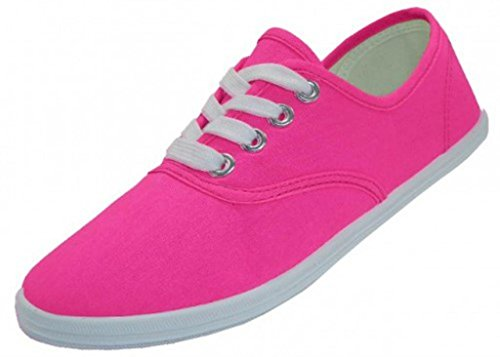 EasySteps Women's Canvas Lace Up Shoes with Padded Insole, Neon Fuchsia, US Women's 11 B(M) US