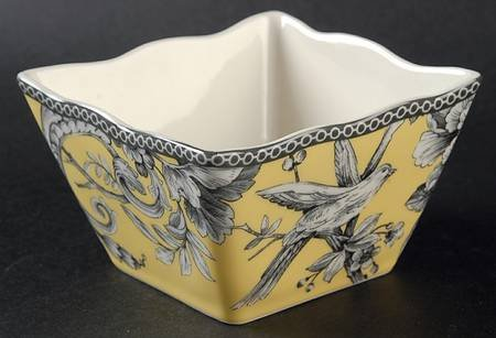 222 Fifth Adelaide Yellow Square Fruit / Dipping Bowls, Set