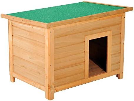 PawHut Caseta para Perro 85 x 58 x 58cm Madera Impermeable con Tejado Verde Abatible y 4 Pies Antideslizantes: Amazon.es: Jardín